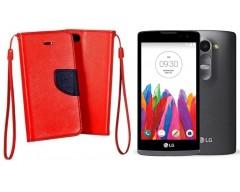 Manager dėklas LG Leon mobiliesiems telefonams raudonos spalvos