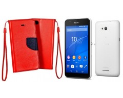 Manager dėklas Sony Xperia E4g mobiliesiems telefonams raudonos spalvos