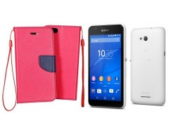 Manager dėklas Sony Xperia E4g mobiliesiems telefonams rožinės spalvos