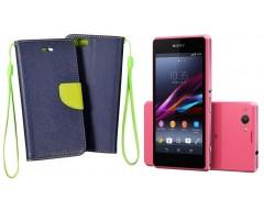 Manager dėklas Sony Xperia Z1 compact mobiliesiems telefonams tamsiai mėlynos spalvos