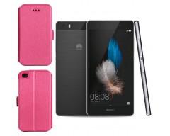 Slim Diary dėklas Huawei P8 Lite mobiliesiems telefonams rožinės spalvos
