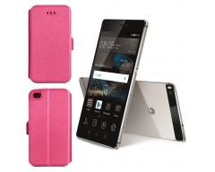 Slim Diary dėklas Huawei P8 mobiliesiems telefonams rožinės spalvos