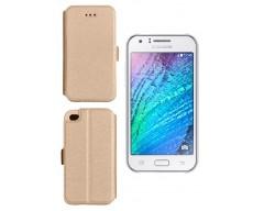 Slim Diary dėklas Samsung Galaxy J1 mobiliesiems telefonams aukso spalvos