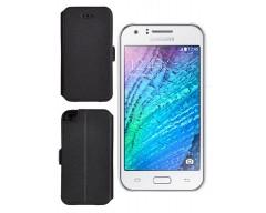 Slim Diary dėklas Samsung Galaxy J1 mobiliesiems telefonams juodos spalvos