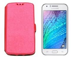 Slim Diary dėklas Samsung Galaxy J1 mobiliesiems telefonams rožinės spalvos