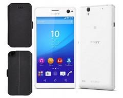Slim Diary dėklas Sony Xperia C4 mobiliesiems telefonams juodos spalvos