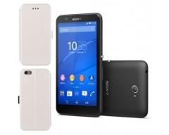 Slim Diary dėklas Sony Xperia E4 mobiliesiems telefonams baltos spalvos