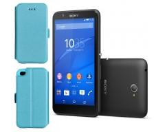 Slim Diary dėklas Sony Xperia E4 mobiliesiems telefonams žydros spalvos