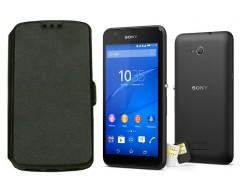 Slim Diary dėklas Sony Xperia E4g mobiliesiems telefonams juodos spalvos