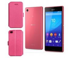 Slim Diary dėklas Sony Xperia M4 Aqua mobiliesiems telefonams rožinės spalvos