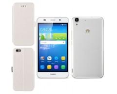 Slim Diary dėklas Huawei Y6 mobiliesiems telefonams baltos spalvos