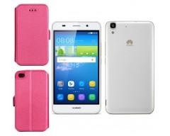 Slim Diary dėklas Huawei Y6 mobiliesiems telefonams rožinės spalvos