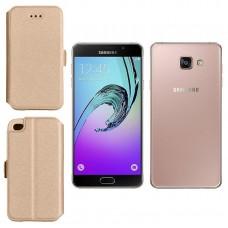 Slim Diary dėklas Samsung Galaxy A7 (2016) mobiliesiems telefonams aukso spalvos Vilnius | Klaipėda | Šiauliai