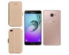 Slim Diary dėklas Samsung Galaxy A7 (2016) mobiliesiems telefonams aukso spalvos