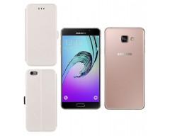 Slim Diary dėklas Samsung Galaxy A7 (2016) mobiliesiems telefonams baltos spalvos