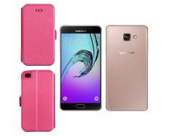 Slim Diary dėklas Samsung Galaxy A7 (2016) mobiliesiems telefonams rožinės spalvos