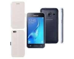 Slim Diary dėklas Samsung Galaxy J1 mini mobiliesiems telefonams baltos spalvos