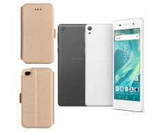 Slim Diary dėklas Sony Xperia  E5 mobiliesiems telefonams aukso spalvos