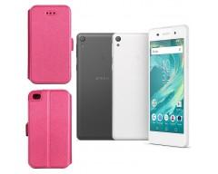 Slim Diary dėklas Sony Xperia  E5 mobiliesiems telefonams rožinės spalvos