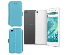 Slim Diary dėklas Sony Xperia  E5 mobiliesiems telefonams žydros spalvos