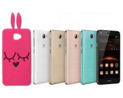 Ausys Rožinis Zuikis silikoninis dėklas Huawei Y5II mobiliesiems telefonams