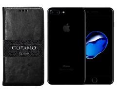 Gotamo D-gravity natūralios odos dėklas Apple iPhone 7 Plus 8 Plus mobiliesiems telefonams juodos spalvos