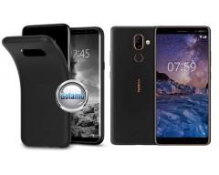 B-matte dėklas nugarėlė Nokia 7 Plus mobiliesiems telefonams juodos spalvos