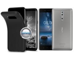 B-matte dėklas nugarėlė Nokia 8 mobiliesiems telefonams juodos spalvos