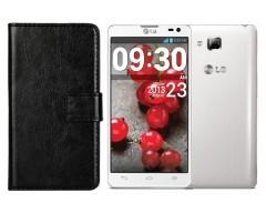 Diary Mate dėklas LG Optimus L9 II telefonams juodos spalvos