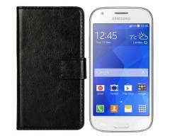 Diary Mate dėklas Samsung Galaxy Ace 4 mobiliesiems telefonams juodos spalvos