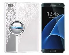 Engrave Garter dėklas nugarėlė Samsung Galaxy S7 telefonams baltos spalvos