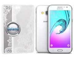 Engrave Lotus dėklas nugarėlė Samsung Galaxy J3 (2016) telefonams baltos spalvos