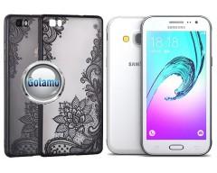 Engrave Lotus dėklas nugarėlė Samsung Galaxy J3 (2016) telefonams juodos spalvos