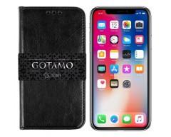 Gotamo D-gravity natūralios odos dėklas Apple iPhone X Xs mobiliesiems telefonams juodos spalvos