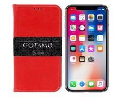 Gotamo D-gravity natūralios odos dėklas Apple iPhone X Xs mobiliesiems telefonams raudonos spalvos
