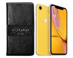 Gotamo D-gravity natūralios odos dėklas Apple iPhone XR mobiliesiems telefonams juodos spalvos