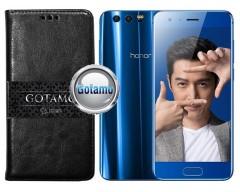 Gotamo D-gravity natūralios odos dėklas Huawei Honor 9 mobiliesiems telefonams juodos spalvos