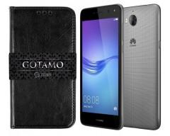 Gotamo D-gravity natūralios odos dėklas Huawei Y5 (2017) Huawei Y6 (2017) mobiliesiems telefonams juodos spalvos