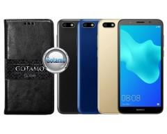 Gotamo D-gravity natūralios odos dėklas Huawei Y5 (2018) Huawei Honor 7S mobiliesiems telefonams juodos spalvos