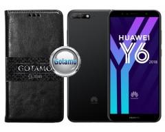 Gotamo D-gravity natūralios odos dėklas Huawei Y6 (2018) Huawei Honor 7A mobiliesiems telefonams juodos spalvos