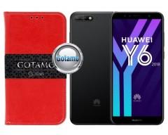 Gotamo D-gravity natūralios odos dėklas Huawei Y6 (2018) Huawei Honor 7A mobiliesiems telefonams raudonos spalvos