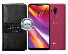Gotamo D-gravity natūralios odos dėklas LG G7 ThinQ mobiliesiems telefonams juodos spalvos