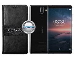 Gotamo D-gravity natūralios odos dėklas Nokia 8 Sirocco mobiliesiems telefonams juodos spalvos