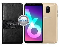 Gotamo D-gravity natūralios odos dėklas Samsung Galaxy A6 (2018) mobiliesiems telefonams juodos spalvos