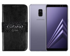 Gotamo D-gravity natūralios odos dėklas Samsung Galaxy A8+ (2018) mobiliesiems telefonams juodos spalvos