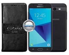 Gotamo D-gravity natūralios odos dėklas Samsung Galaxy J3 Prime J3 Emerge mobiliesiems telefonams juodos spalvos