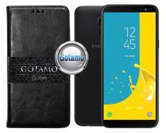 Gotamo D-gravity natūralios odos dėklas Samsung Galaxy J6 (2018) mobiliesiems telefonams juodos spalvos