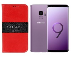 Gotamo D-gravity natūralios odos dėklas Samsung Galaxy S9 mobiliesiems telefonams raudonos spalvos