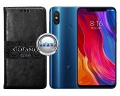 Gotamo D-gravity natūralios odos dėklas Xiaomi Mi 8, Xiaomi Mi 8 Pro mobiliesiems telefonams juodos spalvos
