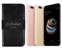 Gotamo D-gravity natūralios odos dėklas Xiaomi Mi A1, Xiaomi Mi 5X mobiliesiems telefonams juodos spalvos